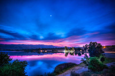 All American - Early Morning Sunrise on the Lake by Connie Cooper-Edwards