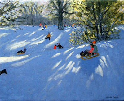 Sledding Painting - Early Snow by Andrew Macara