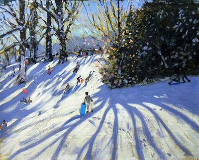 Winter Landscape Painting - Early Snow Darley Park by Andrew Macara
