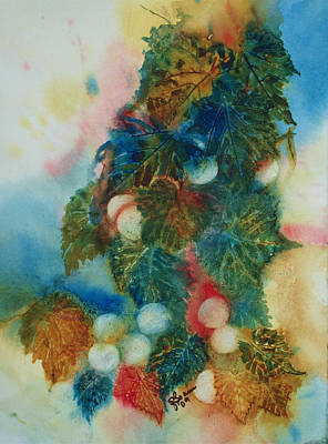 Grapeleaves Painting - Early Wine by Elise Boam