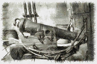 Manatee Co Photograph - Early Years Of Artillery - Pencil by Nicholas Evans