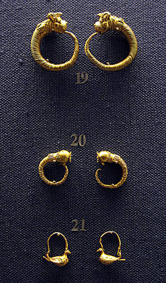Gold Earrings Photograph - Earrings by Andonis Katanos