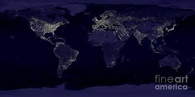 Earth At Night Art Print