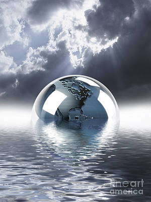 Digital Art - Earth Globe Reflection by Mike Agliolo and Photo Researchers