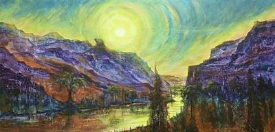 Earth Light Series Wolf Butte Sun Art Print by Len Sodenkamp