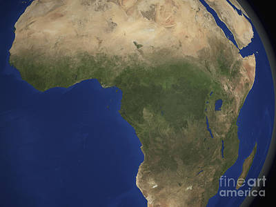 Earth Showing Landcover Over Africa Art Print by Stocktrek Images