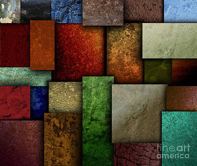 Earth Tone Texture Square Patterns Art Print by Angela Waye