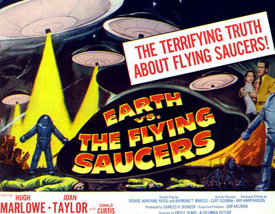 Earth Vs. The Flying Saucers, Far Right Art Print by Everett