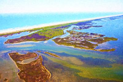 Coastal Landscape Digital Art - East Coast Aerial Digital Oil by Betsy Knapp