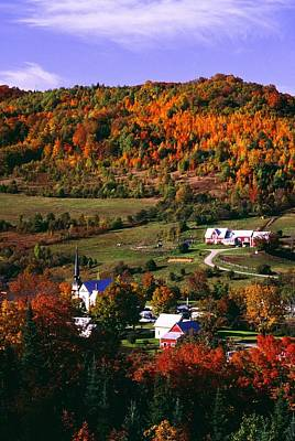 Arial View Photograph - East Orange Village In Fall, Vermont by Bilderbuch