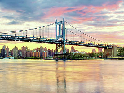 East River Sunset Over Triboro Bridge Art Print by Tony Shi Photography