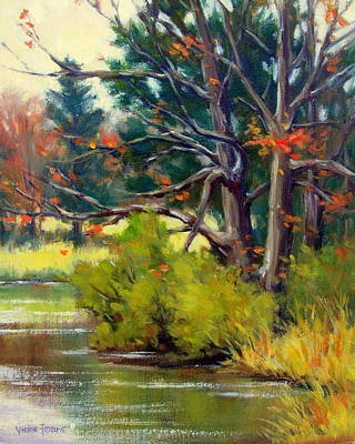 Cloudy Day Painting - East Texas Autumn by Vickie Fears