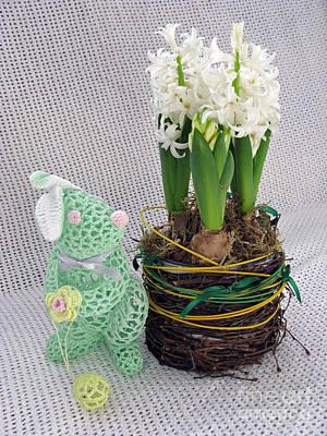 Handmade Book Photograph - Easter Bunny Greeting by Ausra Huntington nee Paulauskaite