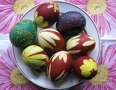 Photograph - Easter Eggs. Plant Print And Wax Drawing. by Ausra Huntington nee Paulauskaite