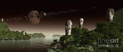 Circling Digital Art - Easter Island Like Heads On An Alien by Frieso Hoevelkamp