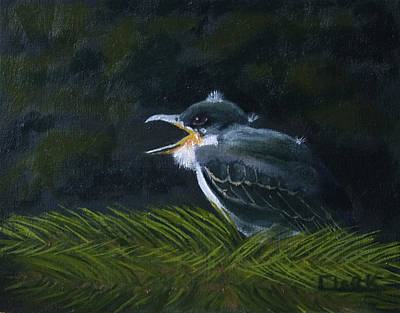 Painting - Eastern Kingbird Fledgling by Wade Clark