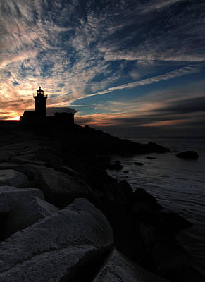 Eastern Point Lighthouse At Sunrise Art Print by Dave Sribnik