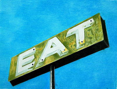 Vintage Antiques Sign Drawing - EAT by Glenda Zuckerman
