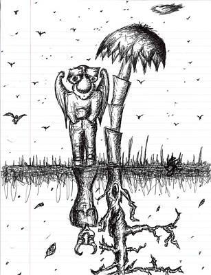 Dead Tree Drawing - Ebel Mirror by Jera Sky