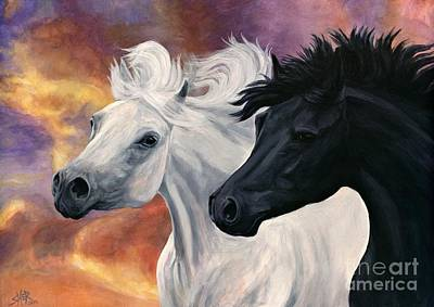 Art Print featuring the painting Ebony And Ivory by Sheri Gordon