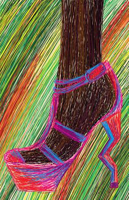 Ebony In High Heels Art Print by Kenal Louis