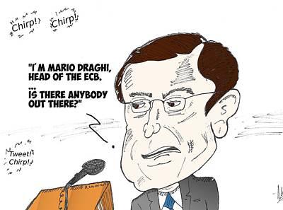 Financial Mixed Media - Ecb President Mario Draghi Editorial Cartoon by OptionsClick BlogArt