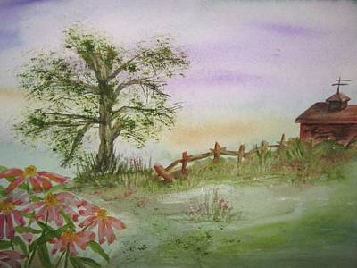 Echinacea And Crooked Fence Print by Ellen Levinson