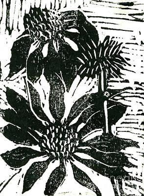 Echinacea Block Print Print by Ellen Miffitt