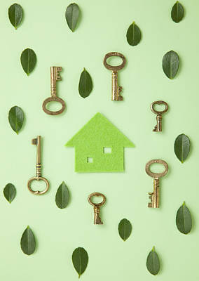 Y120831 Photograph - Eco House Surrounded With Leaves And Keys by sozaijiten/Datacraft