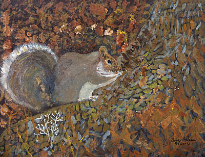 Painting - Ecureuil  Squirrel by Swabby Soileau