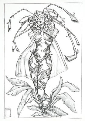 Fantasy Art Drawing - Eden - The Human Plant by Sean Smith