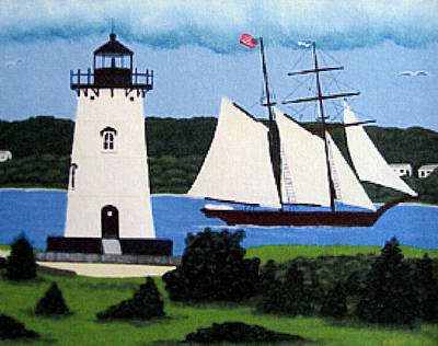 Painting - Edgartown Lighthouse Painting by Frederic Kohli