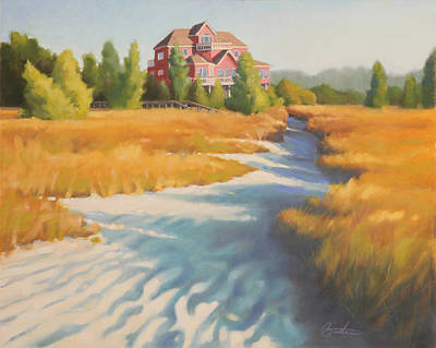 Pink House Painting - Edisto Beach House by Todd Baxter