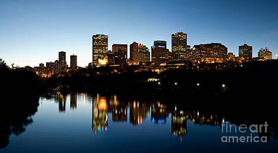 Photograph - Edmonton Skyline Sunset North Saskatchewan River by Terry Elniski
