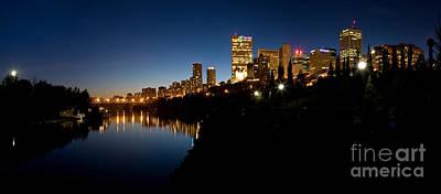 Photograph - Edmonton Skyline With Moon  by Terry Elniski