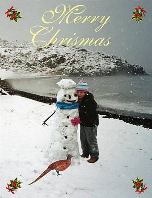 Pheasant Mixed Media - Eftalou Beach Merry Christmas by Eric Kempson
