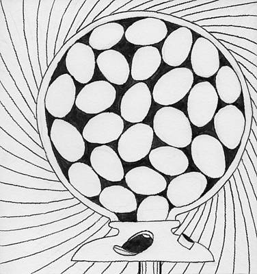 Drawing - Egg Gumball Machine by Phil Burns