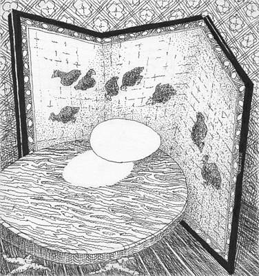 Drawing - Egg With Chicken Screen by Phil Burns