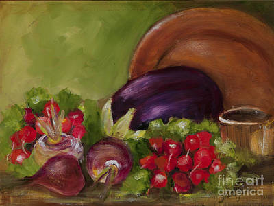 Painting - Eggplant And Radishes by Pati Pelz