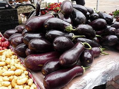 Eggplants And Fingerling Potatoes Art Print by David Bearden