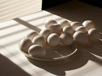 Dozen Photograph - Eggs Lit Through Venetian Blinds by Randall Nyhof