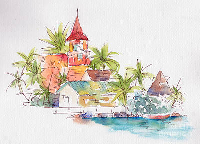 Edge Painting - Eglise Evangelique Bora Bora by Pat Katz