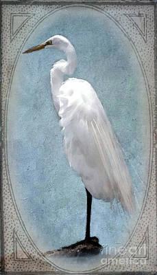 Great White Egret Digital Art - Egret 2 In A Vintage Frame by Betty LaRue