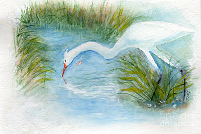Art Print featuring the painting Egret Fishing Creek by Doris Blessington