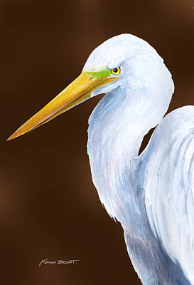 Painting - Egret Head Study by Kevin Brant