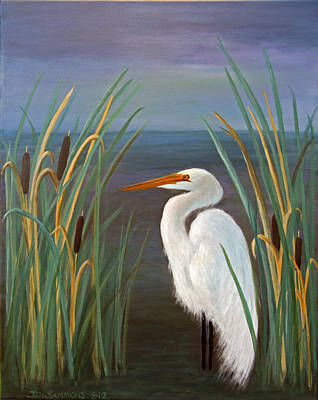 Egret In Cattails Art Print by Janet Greer Sammons