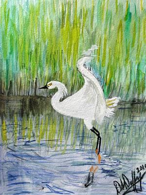 Egret Watercolor Artists Painting - Egret Landing by Deborah Duffy