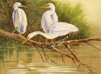 Painting - Egret Trio by Sarah Grangier