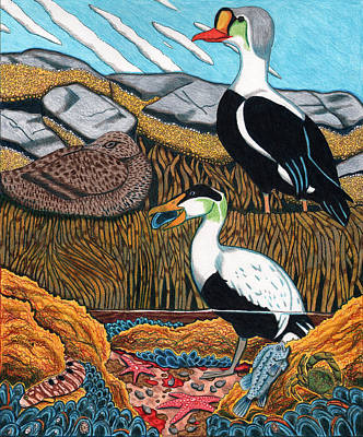 Eider Ducks Original by John Meszaros