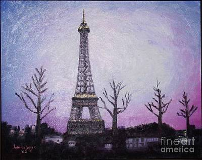 Painting - Eiffel At Night by Laurie Morgan